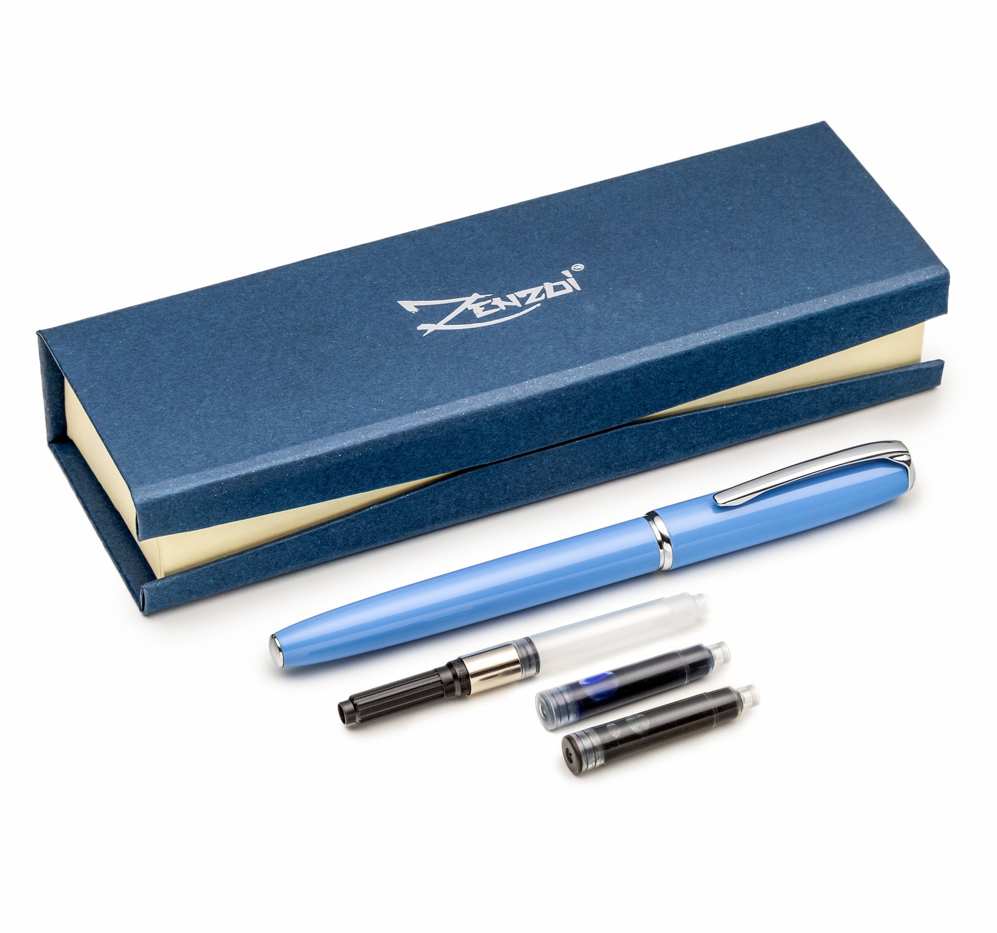 Classy and Professional Sky Blue Fountain Pen Set with Schmidt Fine Nib