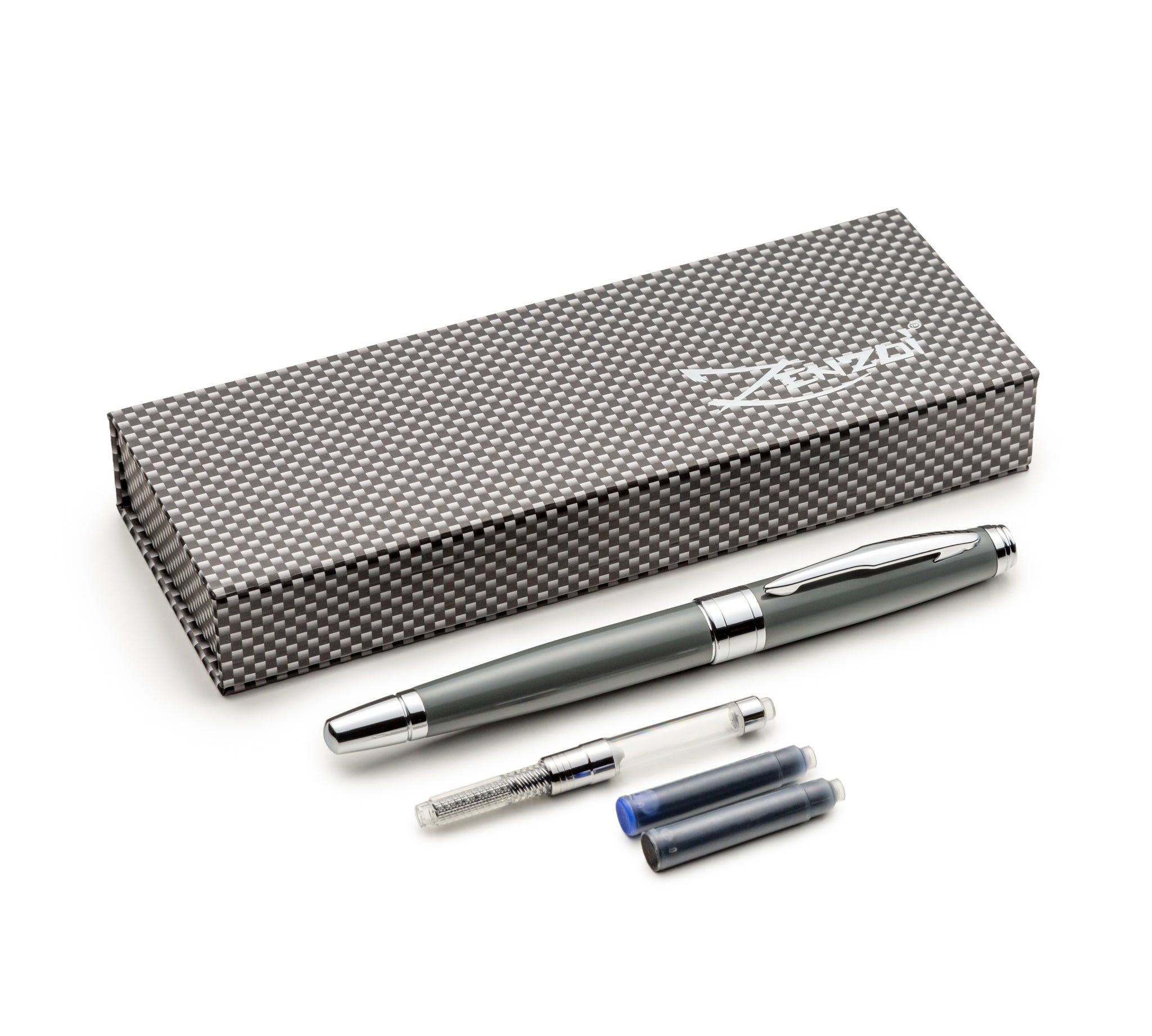 Prestigious Metal Body Fountain Pen Gray Set with Schmidt Fine Nib