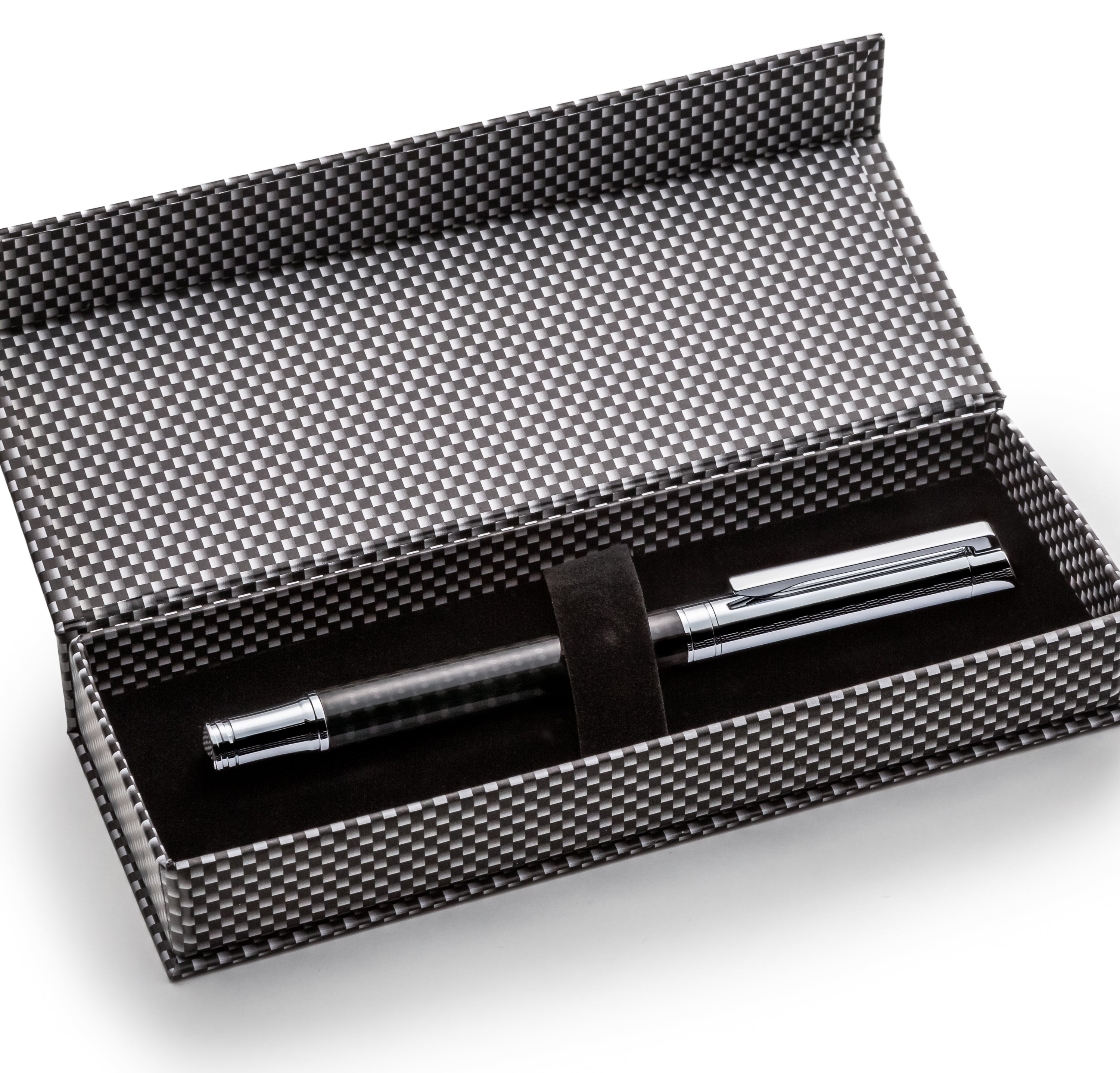 Stylish Carbon Fiber Fountain Pen Set - Modern Cap - W/ Fine German Schmidt Nib & Elegant Gift Box Case