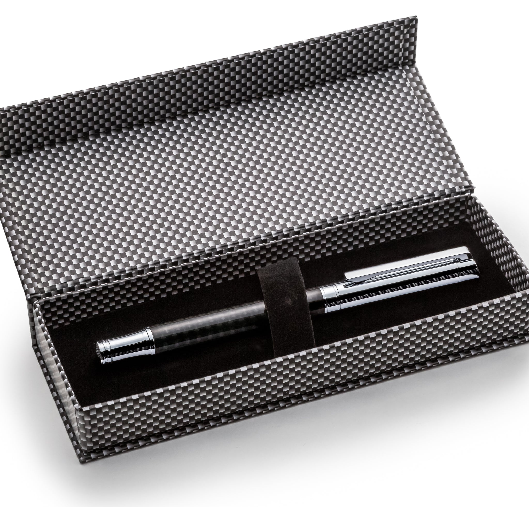 Carbon Fiber Modern Cap Fountain Pen Set W/ German Schmidt Fine Nib & Gift Pen Set