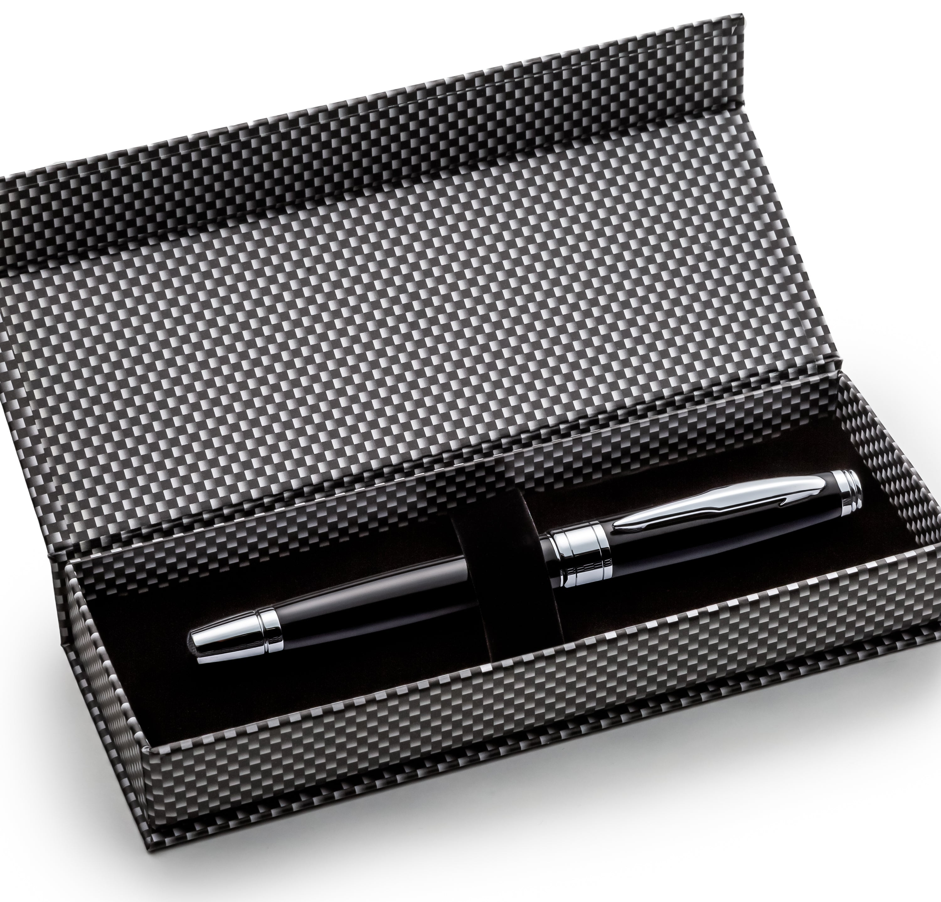 Black on Silver Metal Rollerball Pen Set - W/ 0.5mm Schneider Ink Refill & Gift Box Case