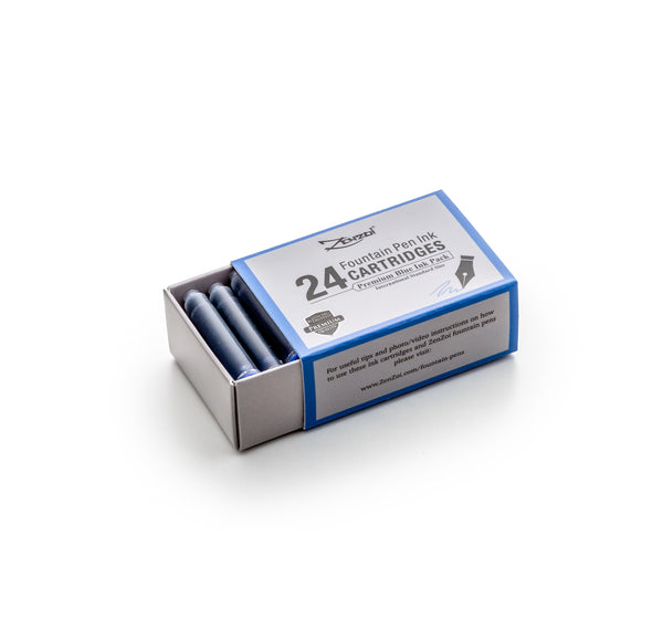 Fountain Pen Blue Ink Cartridges - 24 Pack