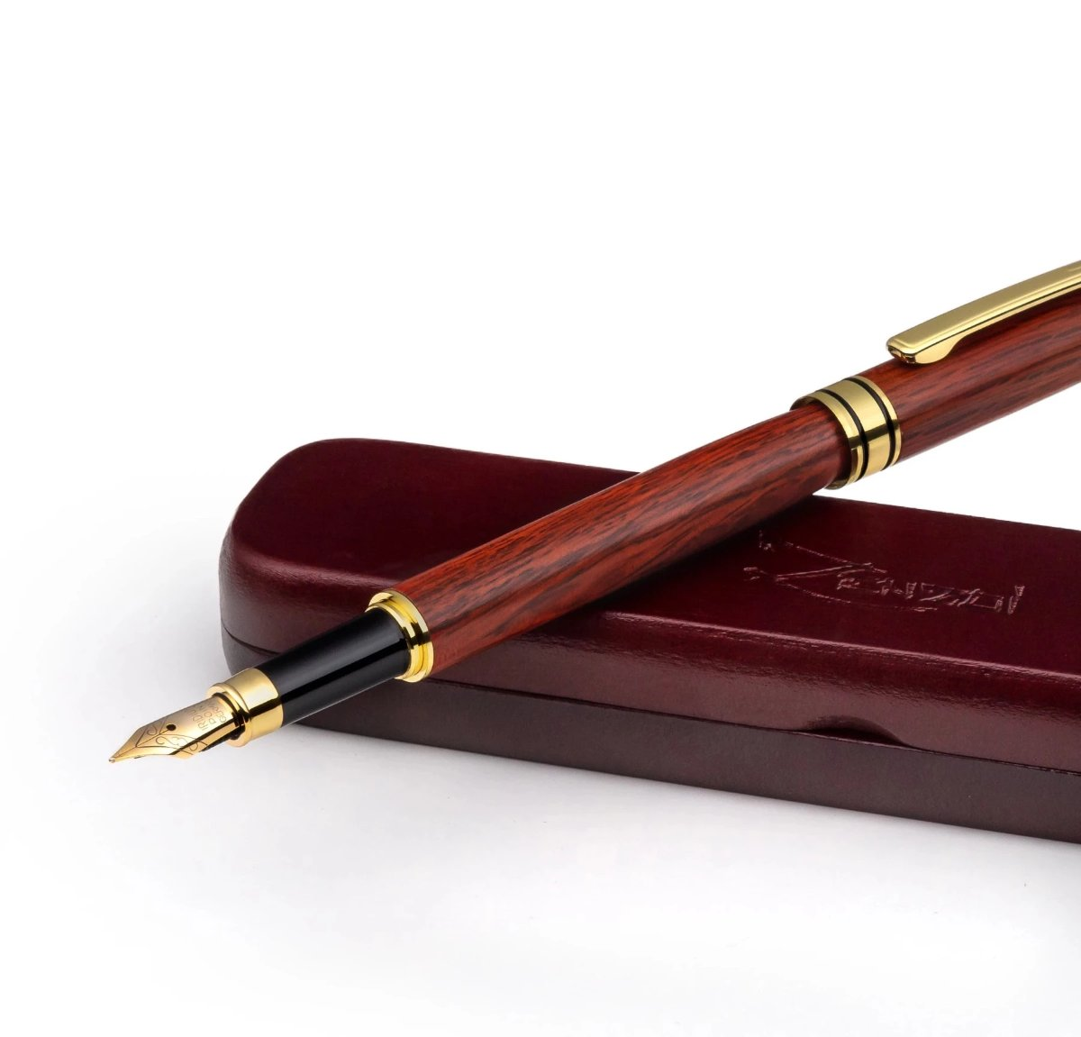 Handcrafted Burgundy Wood Fountain Pen Set –  Calligraphy Stylograph Pens W/ Wooden Gift Box Case