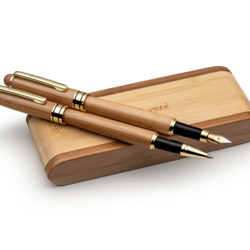 Handcrafted Bamboo Wood Fountain Pen and Rollerball Pen Set with Gift Case