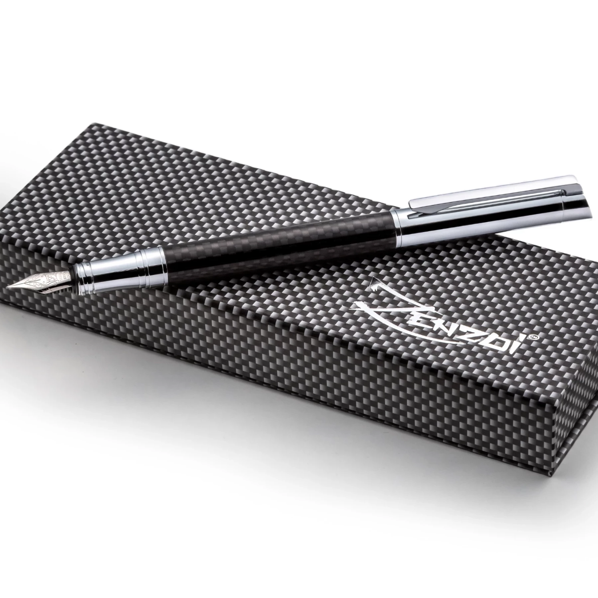 Carbon Fiber Fountain Pen Set - Modern Cap Design - W/ German Schmidt Fine Nib & Gift Box Case