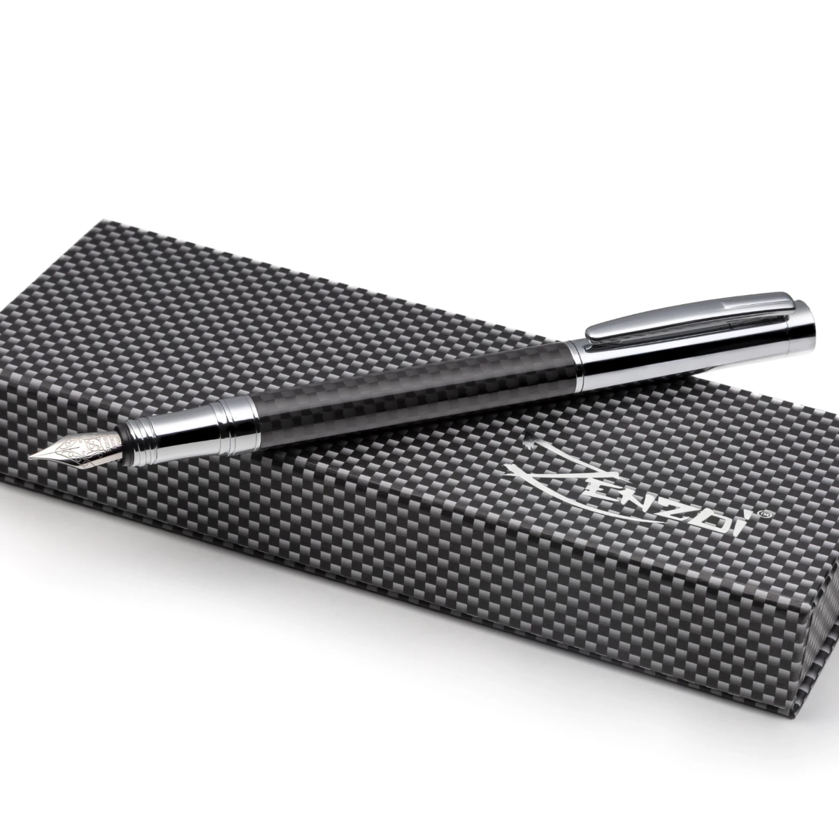 Carbon Fiber and Silver Fountain Pen Set with Schmidt Fine Nib