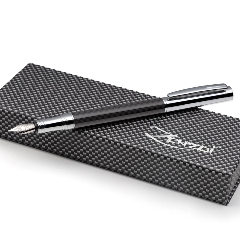 Carbon Fiber Fountain Pen Set with Schmidt Fine Nib