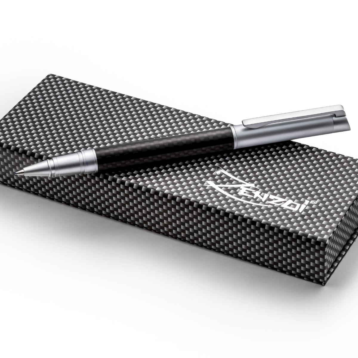 Carbon Fiber Rollerball Ink Pen Set - Modern Matte Finish - W/ 0.5mm Schneider Ink Refill & Gift Box Case