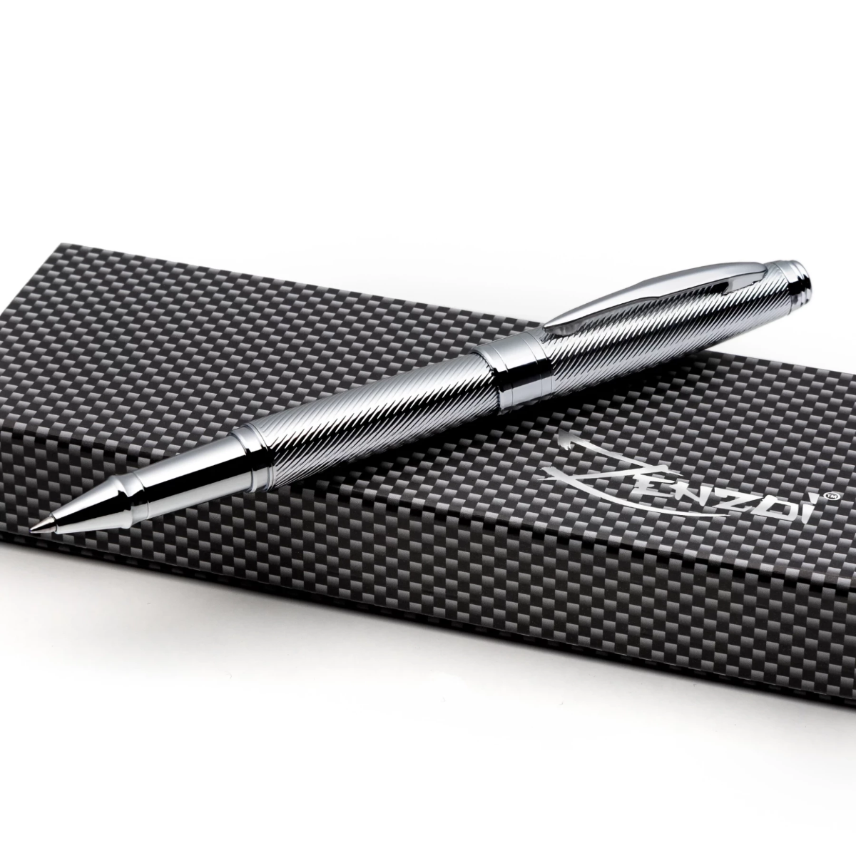 Chrome Rollerball Pen Set with Schneider Ink Refill and Gift Box