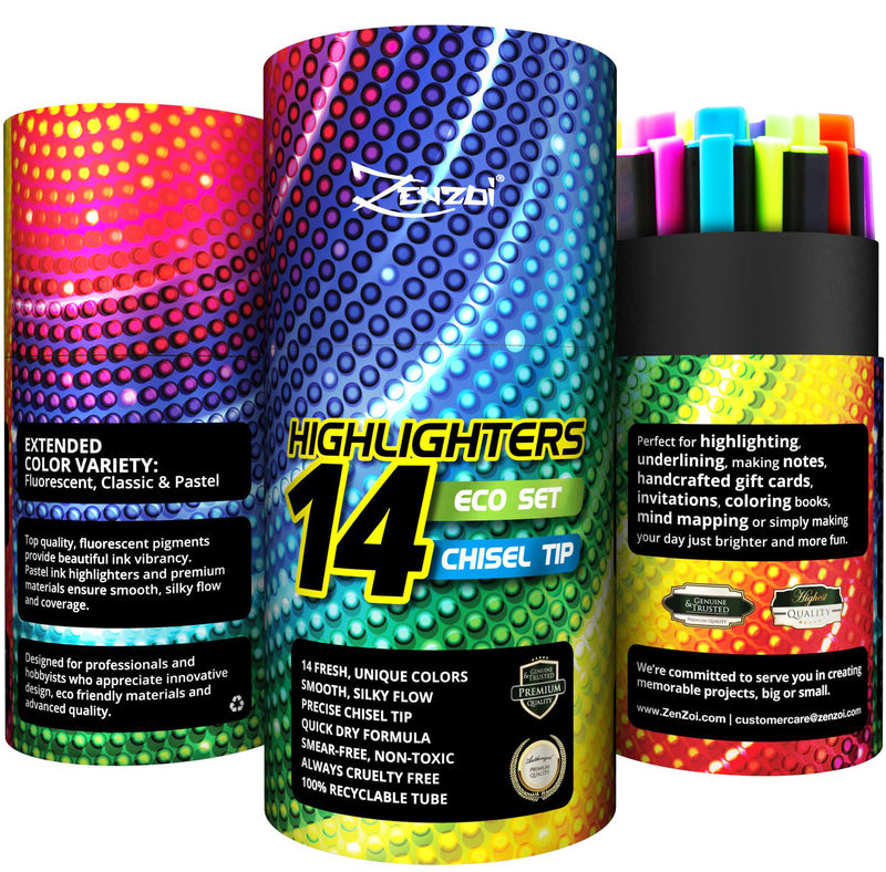 Highlighter Markers 14 Unique Colors Fluorescent, Classic & Pastel