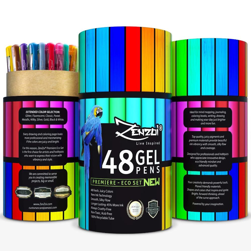 Gel Ink Pens With Case Adult Coloring Books Drawing 48 Color
