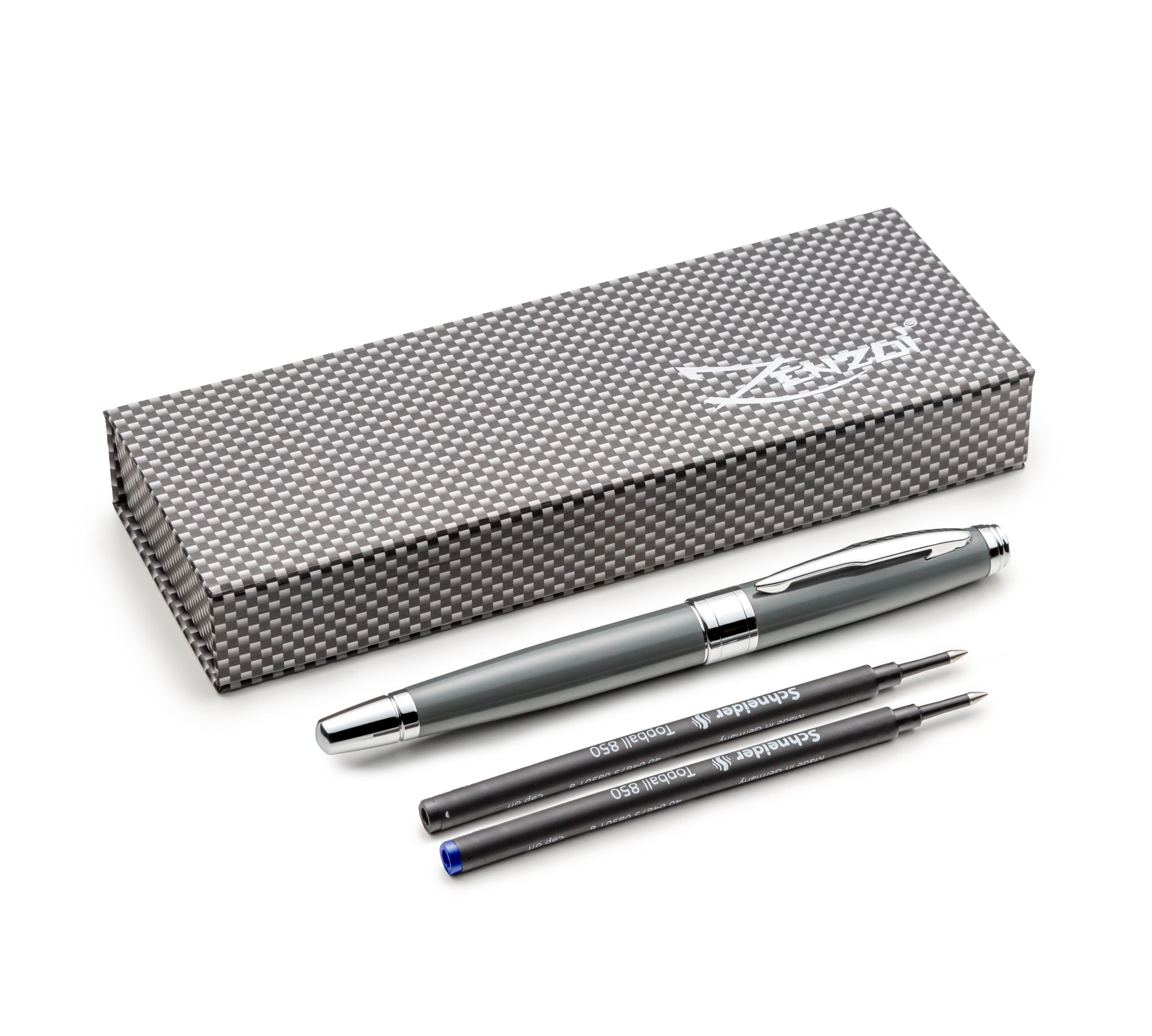 Gray Rollerball Pen Set W/ 0.5mm Schneider Ink Refill & Gift Pen Set