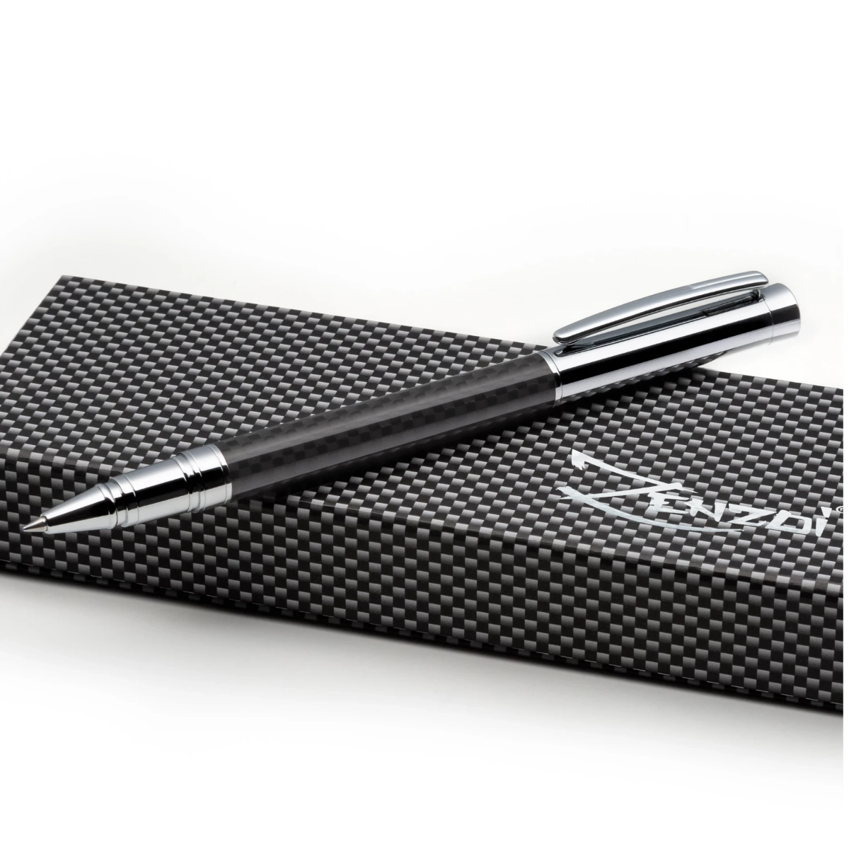 Carbon Fiber Rollerball Pen Set - W/ 0.5mm Schneider Ink Refill & Gift Box Case