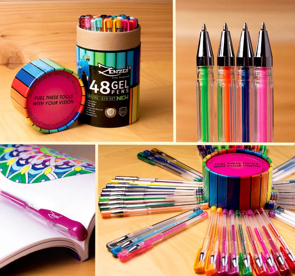 Gel Ink Pens Set – Artist-Quality - Ideal For Coloring, Sketching, Drawing - 48 Gorgeous Colors