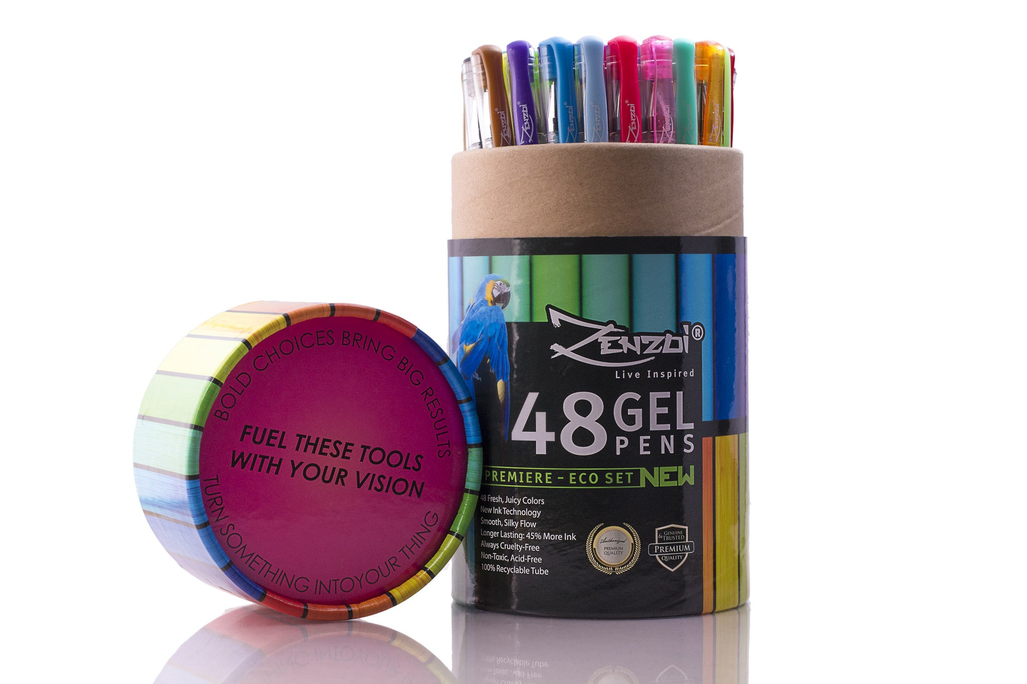 Gel Ink Pens Set For Coloring, Sketching, Drawing - 48 Gorgeous Colors