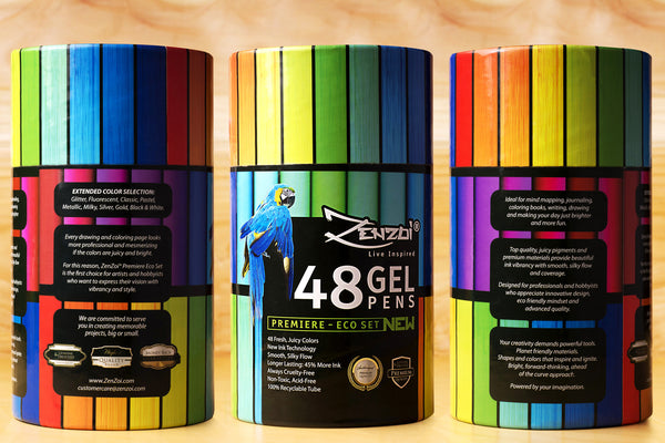 Gel Pens - 48 Assorted Colors - Eco Tube 45% More Ink - Extended Color Selection