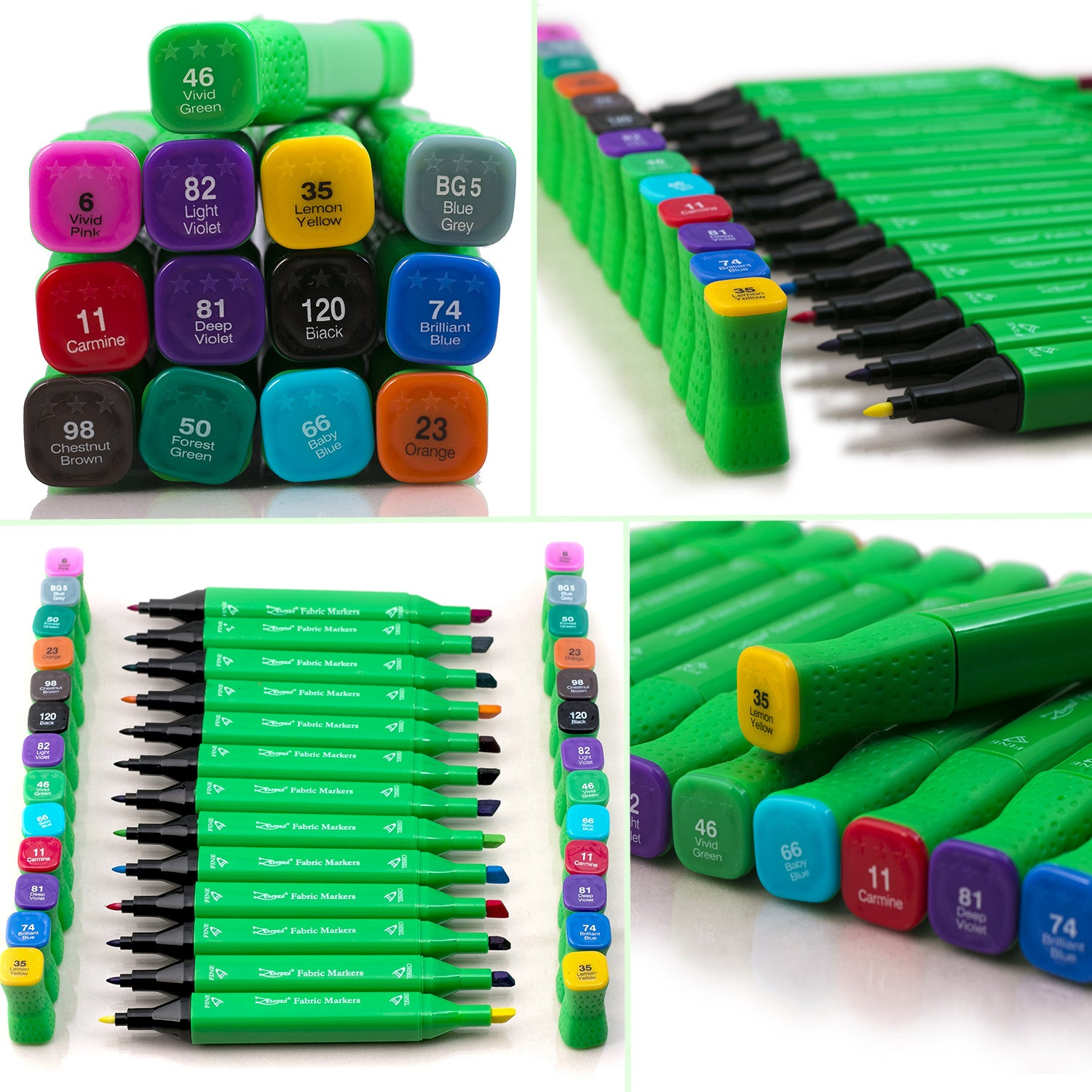 Dual Point Fabric Markers Set: Both Chisel & Fine