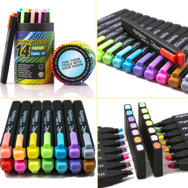 Highlighter Markers 14 Unique Colors Fluorescent, Classic & Pastel - Chisel Tip