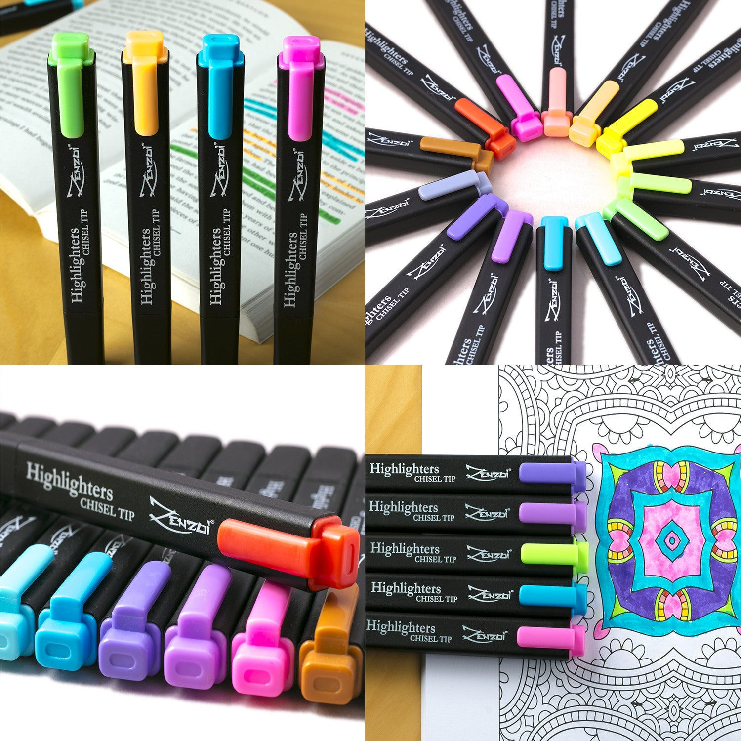 Highlighter markers set Chisel Tip 14 Unique Colors