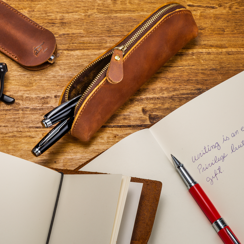 Leather Brown Pencil Case
