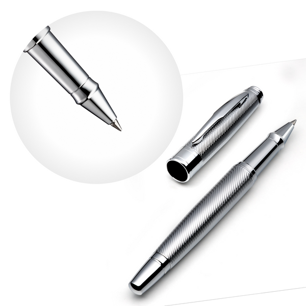 Chrome Rollerball Pen Set with Schneider Ink Refill