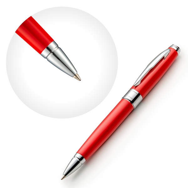 Red Ballpoint Pen Set with Ink Refills and Gift Box
