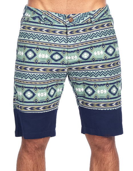 MEN'S NAVY GREEN GEOMETRIC PRINT CHINO STRETCH SHORTS | CC-8402-1