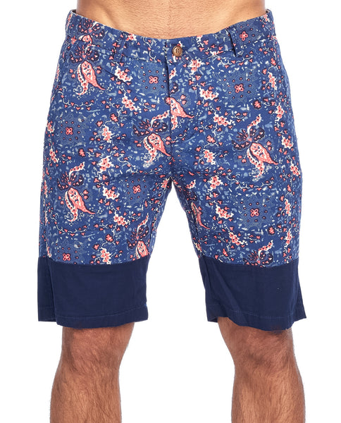 MEN'S BLUE PAISLEY PRINT CHINO STRETCH SHORTS | CC-8403-2