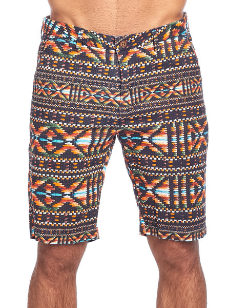 MEN'S COLORFUL GEOMETRIC PRINT CHINO STRETCH SHORTS | CC-8405