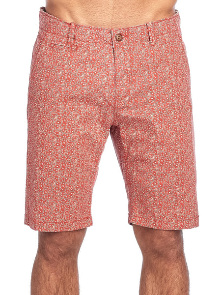 MEN'S LIGHT RED PRINT CHINO STRETCH SHORTS |  CC-8409-2