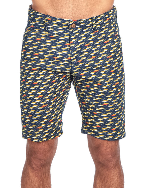 MEN'S BLUE YELLOW PRINT CHINO STRETCH SHORTS |  CC-8409-5