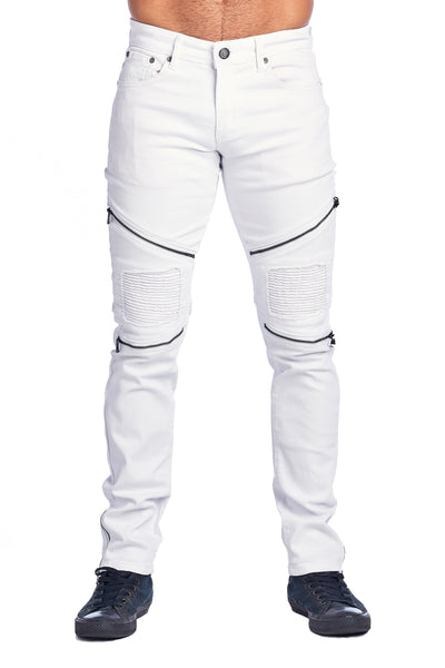 MEN'S WHITE ZIPPERED JEANS | HSZ-1-WHITE