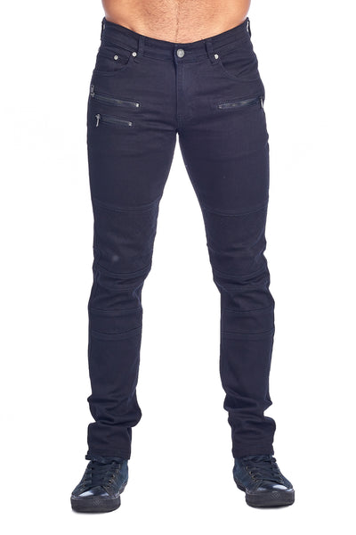 MEN'S BLACK ZIPPERED JEANS | HSZ-10-BLACK