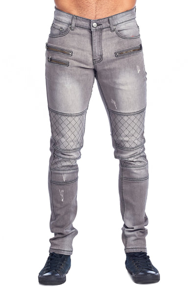 MEN'S GREY ZIPPERED JEANS | HSZ-10-GREY
