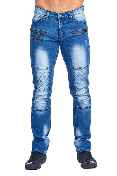 MEN'S LIGHT BLUE ZIPPERED JEANS | HSZ-10 L.BLUE