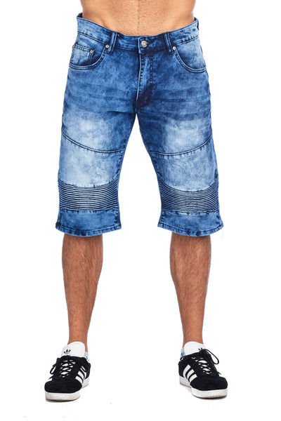 MEN'S BLUE ACID WASH DENIM SHORTS | TD-2 WASH BLUE