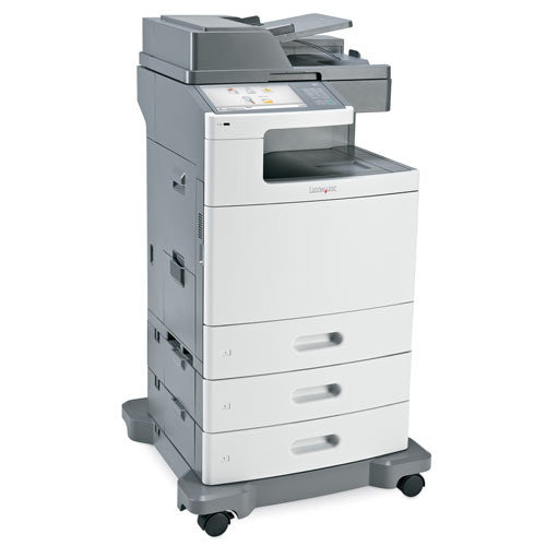 REPOSSESSED Lexmark XS796de Multifunction Color Copier Printer Scanner Fax Finisher Only 33K Pages Printed, Large Colur LCD panel