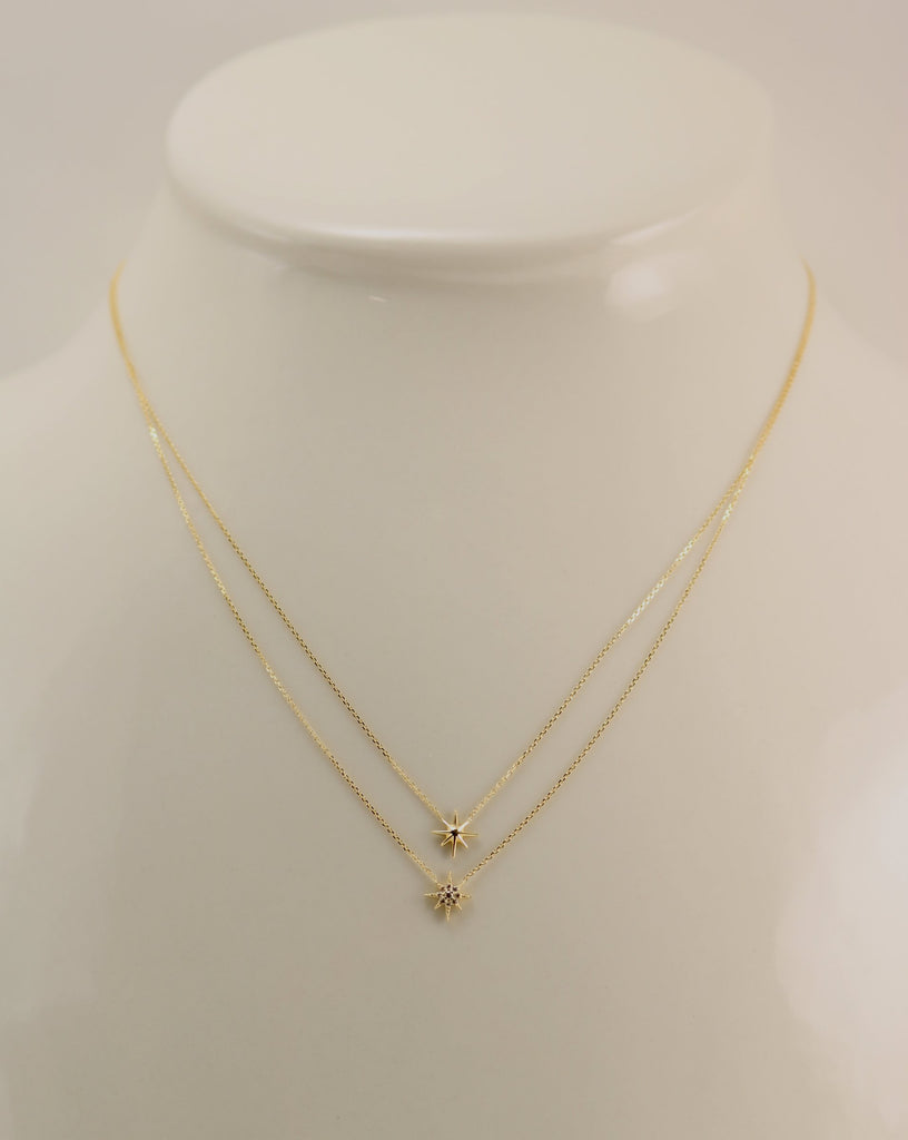 02eba09168603 14K Yellow Gold Layered CZ North Star Necklace