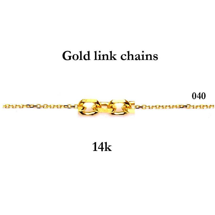 14K  Yellow or White solid gold cable (link) chain