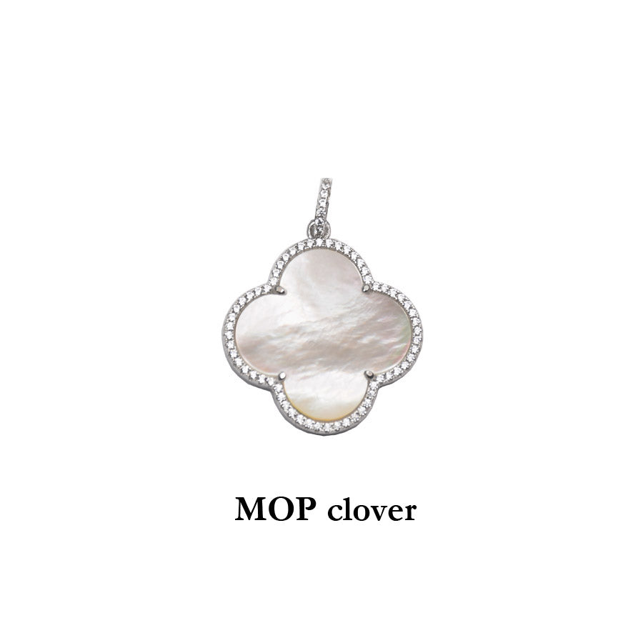 Mother of Pearl Sterling Silver Clover Pendant with cubic zirconias