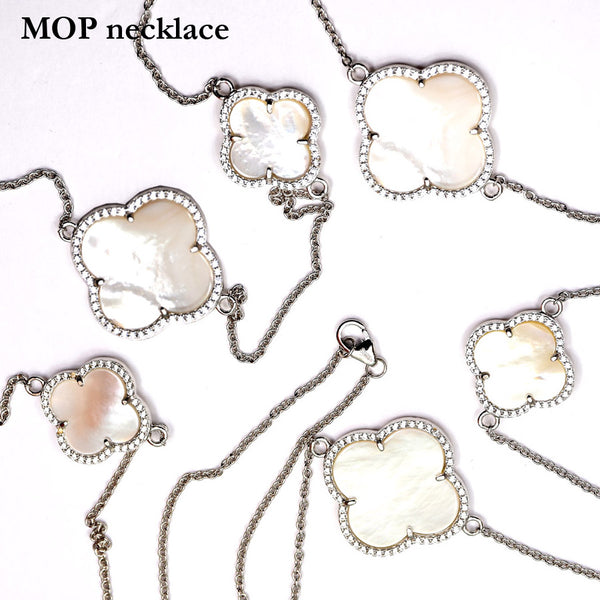 Sterling Silver Mother of Pearl Clover Necklace with cubic zirconias