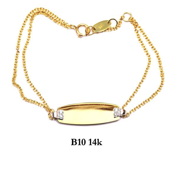 Bracelet- 14K Solid Yellow Gold ID bracelet with double chain and czs