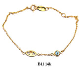 Bracelet- 14K Solid Yellow Gold bracelet with evil eyes