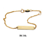 Bracelet- 14K Solid Yellow Gold ID chain bracelet