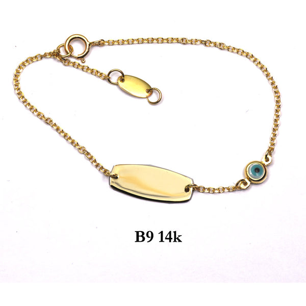 Bracelet- 14K Solid Yellow Gold ID chain bracelet with evil eye