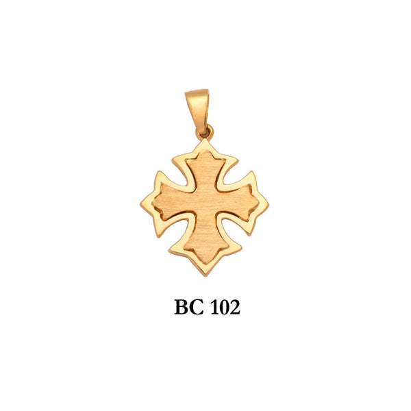 14K Yellow byzantine style appealing solid gold 2-piece cross pendant
