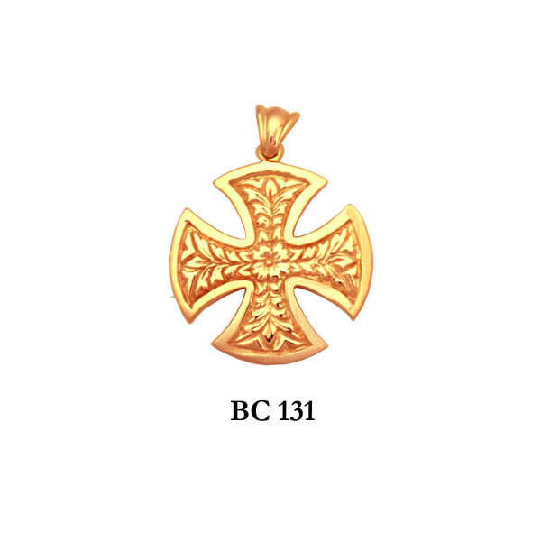 14K byzantine style hand engraved detail solid gold cross pendant