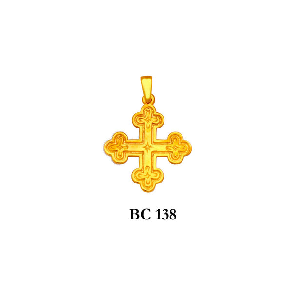 14K byzantine style flattering solid gold cross pendant