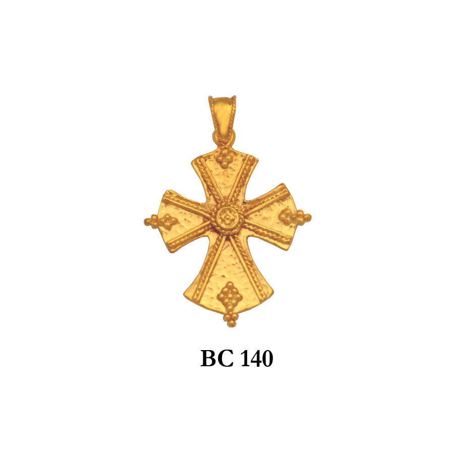 14K byzantine style designers solid gold cross pendant