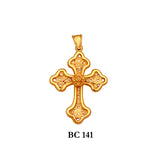 14K byzantine style detailed filigree solid gold cross pendant